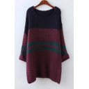 Striped Color Block Round Neck Curling Long Sleeve Knitted Tunic Sweater