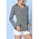 Fashion V-neck Striped Sweatshirt with Front Pocket