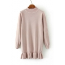 New Style Half High Neck Ruffle Hem Tunic Sweater With Long Sleeve