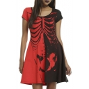 Halloween Skeleton Print Color Block Round Neck Short Sleeve A-line Dress