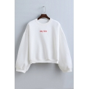 OH YES Letter Print Drop Sleeve Round Neck Loose Short Sweatshirt