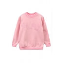New PLAY Letter Embroidery Dropped Long Sleeve Pullover Sweatshirt