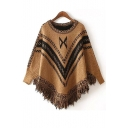 Women Casual Loose Shawl Fringed Poncho Sweater Coat