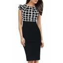 Womens Tartan Check Plaid High Waist Casual Work Office Pencil Dress