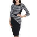 Women's Elegant Colorblock Wear to Work Business Stretch Pencil Dress