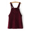 Plain Corduroy Overall Dress with Front Pocket