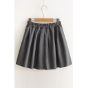 New Arrival Basic Elastic Waist A-line Skirt in Gray