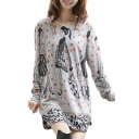 Character Print Polka Dot Round Neck Loose Pullover Dress