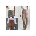 Fashion Lace-Up Front Pockets Details Pencil Mini Skirt
