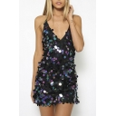 Sequined Design Plunge Neck Open Back Sexy Mini Slip Dress