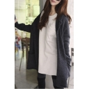 Loose Plain Hooded Long Sleeve Open-Front Cardigan