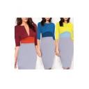 Elegant 3/4 Length Sleeve Zip-Front Color Block Bodycon Dress