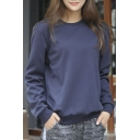 Crew Neck Long Sleeve Solid Color Sports Casual Women's Sweatshirt