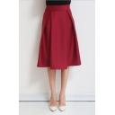 Retro Style High Waist Plain Pleated A-Line Midi Skirt