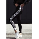 Letter Print Fashion Yoga Sports Women's Skinny Leggings