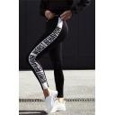 Letter Print Fashion Yoga Sports Women's Skinny Leggings