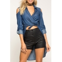 Cold the Shoulder Tied Waist Lapel Wrap Front Asymmetric Hem Denim Coat