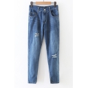 Elastic Back Mid Waist Ripped Front Split Cuffs Cropped Jeans