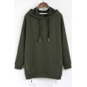 2016 Fall Winter New Concise Style Zip Detail Fleece Hoodie