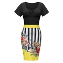 Women Pencil Sheath Stripe Floral Wear to Work Cocktail Bodycon Summer Dresses