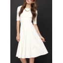 Women's Half Sleeve Elegant Back Zipper A-Line Knee Long Dress