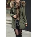 Fur Hooded Zipper Single Breasted Drawstring Waist Tunic Coat