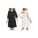 Elegant Lace Design Bow Back Puff Sleeve Midi Dress