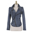 Latest Style Retro Oversize Denim Folded Collar Long Sleeve Jacket