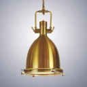 Polished Brass Industrial Style Metal Hanging Lamp with Bell Shade