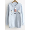 Hats Design Happy Face Print Long Sleeve Loose Pullover Students' Sweater