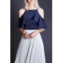 Ruffle Sleeve Boat Neck Cold Shoulder Basic Solid Color Women's Top