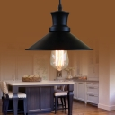 Metal Round Industrial Pendant Light In Black