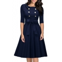 Double Breasted Front Petal Collar Half Sleeve Bow Waist A-Line Midi Dress