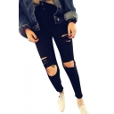 High Waist Woman Knee Skinny Pencil Pants Denim Ripped Boyfriend Jeans