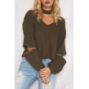 Stylish Cut Out V-Neck Zipper Dropped Long Sleeve Cropped Sweater