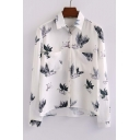 Fashion Leaf Print Dip Hem Lapel Shirt with Pockets