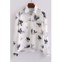 Fashion Leaf Print Dip Hem Lapel Shirt with Pockets