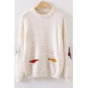 Sweaty Embroidery Owl Pattern Colorful Dots Elastic Trim Sweater with Long Sleeve