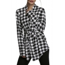 Women's Plaid Houndstooth Pattern Coat Cardigan Spring Jacket