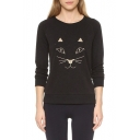 Fashion Cat Embroidery Round Neck Long Sleeve Sweatshirt