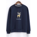 Popular Reindeer Embroidery Round Neck Long Sleeve Sweatshirt