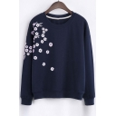 Fashion Floral Embroidery Round Neck Long Sleeve Sweatshirt