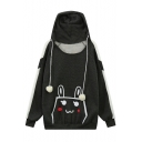 Cute Rabbit Ears Hooded Contrast Long Sleeve Animal Print Pocket Hoodie