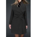Popular Lapel Belt Waist Open-Front Long Sleeve Tunic Coat