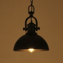 Vintage Style Black Dome Shade Single Light Hanging Lamp