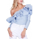 Chic Sexy Off the Shoulder Ruffle Detail Stripes Long Sleeve Blouse
