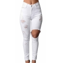 Women Denim Stretch Jeans Skinny Ripped Distressed Pants
