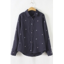 Fashion Star Embroidery Long Sleeve Lapel Shirt with Hip Hem