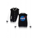 Trendy Single Breasted Contrast Long Sleeve Striped Color Block Trim NASA Print Back Baseball Jacket