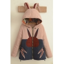 Cute Rabbit Ears Hooded Color Block Zip Up Coat